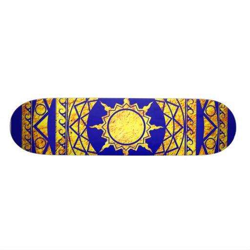 Atlantean Crafts Gold on Blue Skateboard