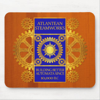 Atlantean Steamworks - Gold & Blue on Amber Wood Mouse Pad