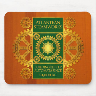 Atlantean Steamworks - Gold & Green on Amber Wood Mouse Pad
