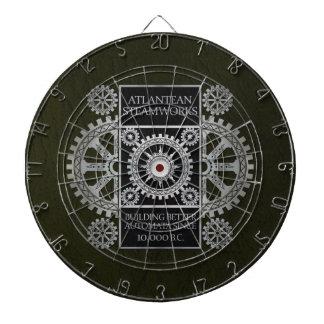 Atlantean Steamworks - Silver on Black & Green Dartboard