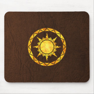 Atlantean Sun on Brown Leather Mouse Pad