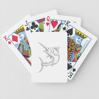 Atlantic Blue Marlin Doodle Bicycle Playing Cards