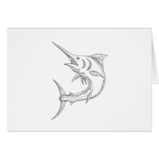 Atlantic Blue Marlin Doodle Card