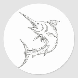 Atlantic Blue Marlin Doodle Classic Round Sticker