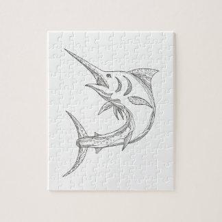 Atlantic Blue Marlin Doodle Jigsaw Puzzle