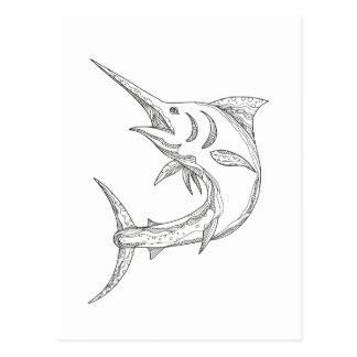 Atlantic Blue Marlin Doodle Postcard