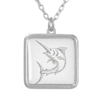 Atlantic Blue Marlin Doodle Silver Plated Necklace