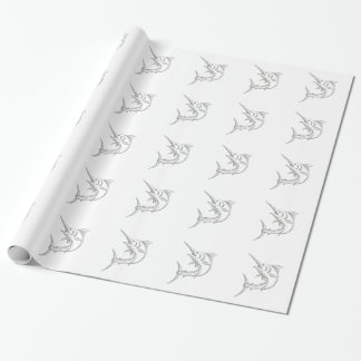 Atlantic Blue Marlin Doodle Wrapping Paper