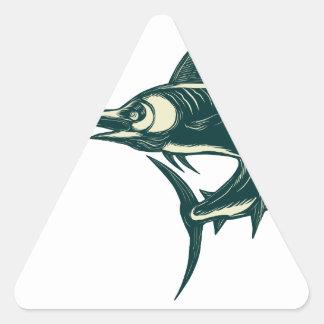 Atlantic Blue Marlin Scraperboard Triangle Sticker