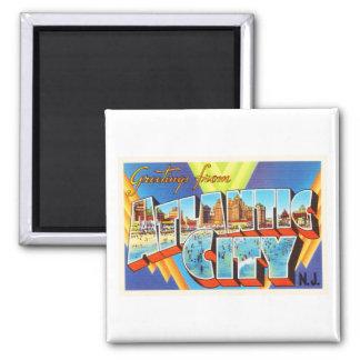 Atlantic City 2 New Jersey NJ Vintage Travel - Magnet