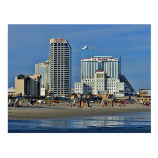 Atlantic City Beach With Casino Postcard