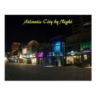 Atlantic City by Night Postcard