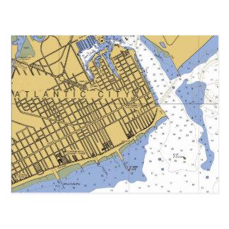 Atlantic City Nautical Chart Harbor Postcard
