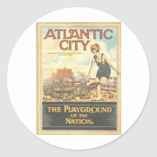 Atlantic City-Playground of the Nation Classic Round Sticker
