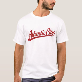 Atlantic City script logo in red T-Shirt