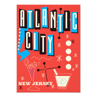 Atlantic city Vintage gambling travel poster Art Photo