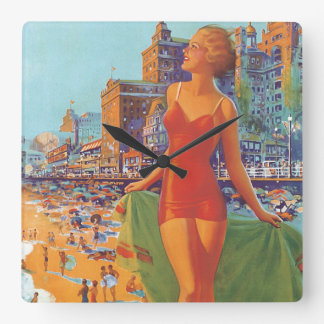 Atlantic City Vintage Travel Poster Square Wall Clock