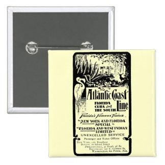 Atlantic Coast Line Railroad 1934 2 Inch Square Button