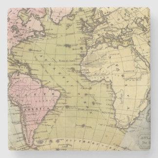 Atlantic Ocean Atlas Map Stone Coaster