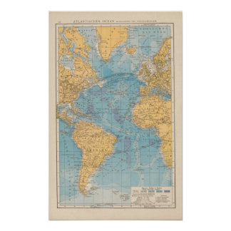 Atlantic Ocean Map Poster