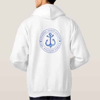 Atlantic Ocean Sailing | Navy Anchor  Personalized Hoodie