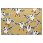 Atlantic Puffins gold Fabric