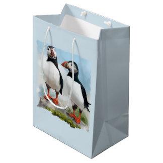 Atlantic puffins medium gift bag