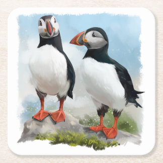Atlantic puffins square paper coaster