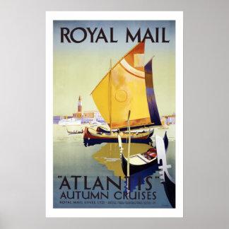 Atlantis Autumn Cruises Vintage Travel Posters