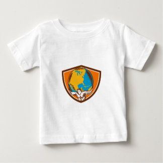 Atlas Carrying Globe Crest Woodcut Baby T-Shirt