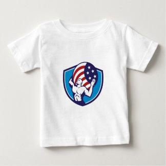 Atlas Carrying Globe USA Flag Crest Retro Baby T-Shirt