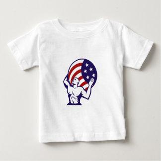 Atlas Carrying Globe USA Flag Retro Baby T-Shirt