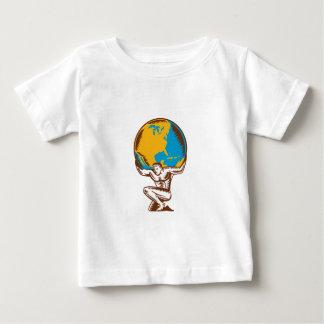 Atlas Lifting Globe Kneeling Woodcut Baby T-Shirt