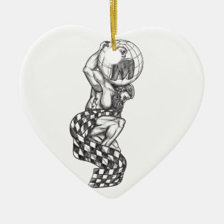 Atlas Lifting Globe Racing Flag Tattoo Ceramic Heart Ornament