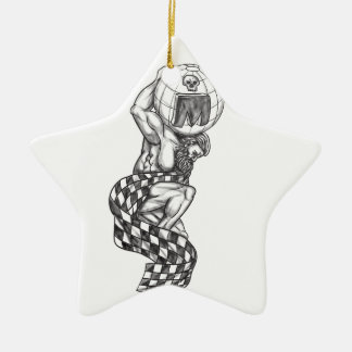 Atlas Lifting Globe Racing Flag Tattoo Ceramic Star Ornament