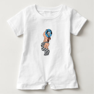 Atlas Lifting Globe Skull Checkered Flag Drawing Baby Romper
