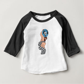 Atlas Lifting Globe Skull Checkered Flag Drawing Baby T-Shirt