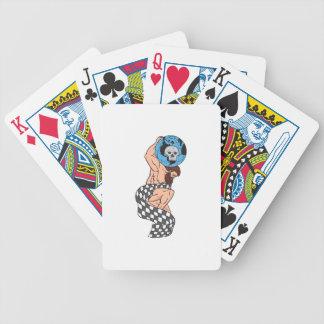 Atlas Lifting Globe Skull Checkered Flag Drawing Bicycle Playing Cards
