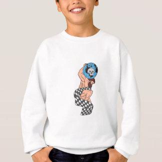 Atlas Lifting Globe Skull Checkered Flag Drawing Sweatshirt