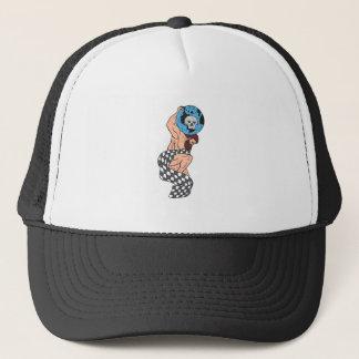 Atlas Lifting Globe Skull Checkered Flag Drawing Trucker Hat