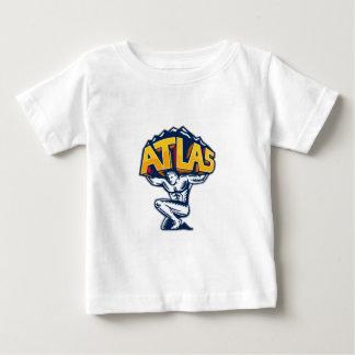 Atlas Lifting Mountain Kneeling Woodcut Baby T-Shirt