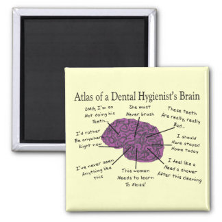 Atlas of a Dental Hygienist's Brain Square Magnet