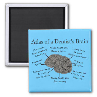 Atlas of a Dentist's Brain Square Magnet