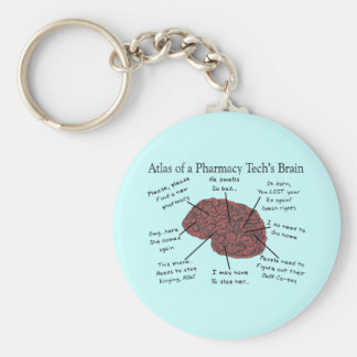 Atlas of a Pharmacy Tech's Brain Keychain