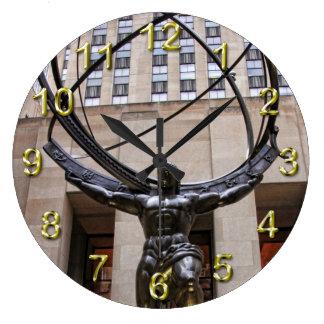 Atlas Statue, Rockefeller Center, NYC Large Clock