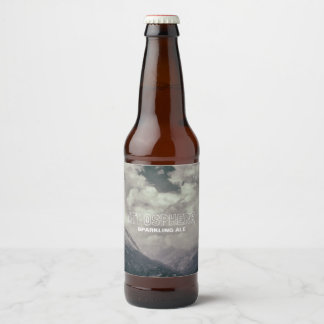 Atmosphere Beautiful Retro Cloudy Weather Mountain Beer Bottle Label