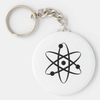 atom black basic round button keychain
