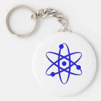 atom blue basic round button keychain