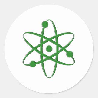 atom dark green round sticker
