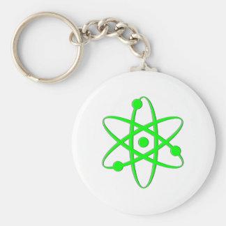 atom light green basic round button keychain